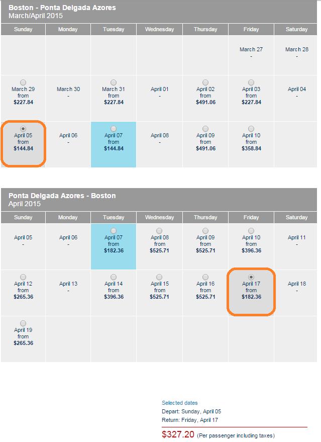 Azores Cheap Fares Calendar