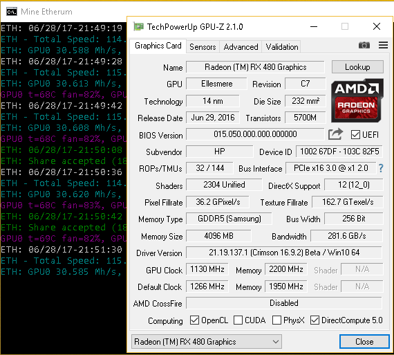 HP OEM Radeon RX 480 Mining at 31Mh/s
